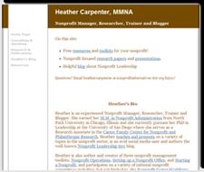 Visit Nonprofit Alternatives: Heather Carpenter, MMNA - Nonprofit Manager, Researcher, Trainer and Blogger