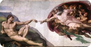 Michelangelo's Sistine Chapel Painting: God Reaching Out to Adam